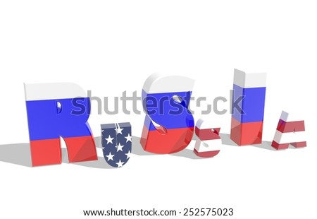 usa word in russia word, politic relationships relative background