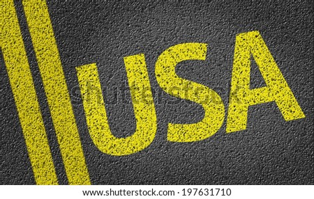 USA written on the road - stock photo