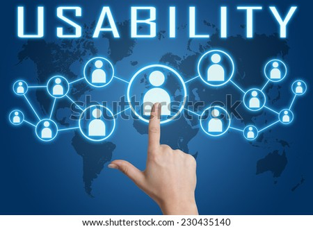 Usability concept with hand pressing social icons on blue world map background. - stock photo