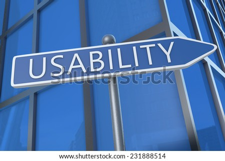 Usability - illustration with street sign in front of office building.