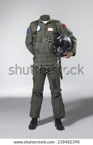Usable fighter pilot's body with his helmet  - stock photo