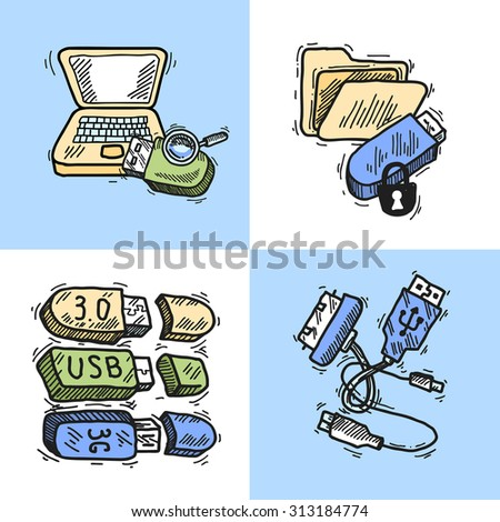 Usb and computer data transfer technology sketch design concept set isolated  illustration - stock photo