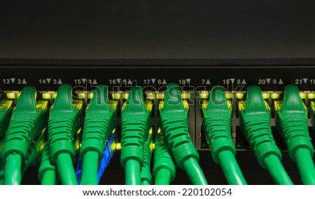 usb cable board hub in digital telecommunication control room - stock photo