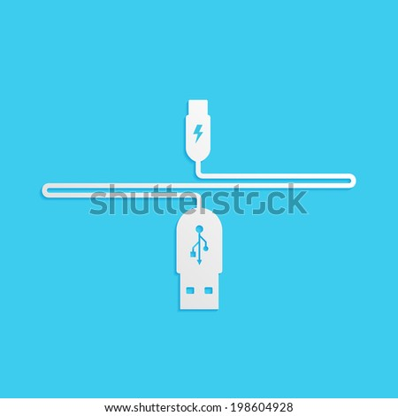 USB cable is white, isolated on a blue background for your design - stock photo