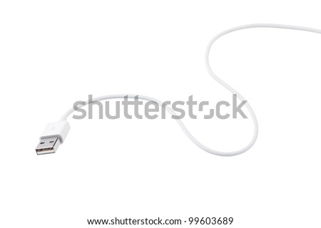 USB cable is white, isolated on white background