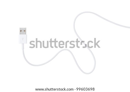 USB cable is white, isolated on white background - stock photo
