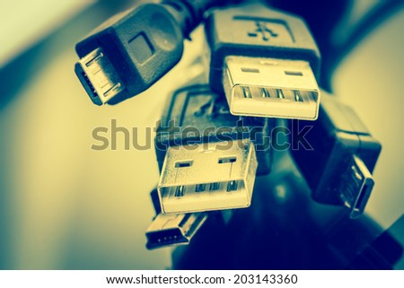 USB Cable Plug connection - stock photo
