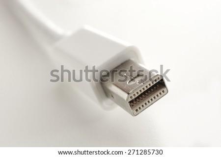 USB Cable Plug on White Background - stock photo
