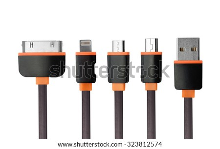 USB charger cable connectors set isolated on white - stock photo