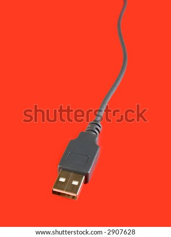 USB computer cable, isolated on red