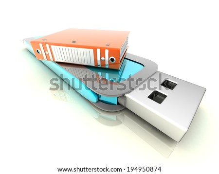 USB concept (folders for documents) - stock photo