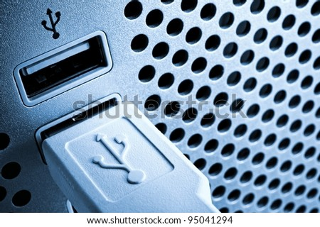 Usb connection port. - stock photo