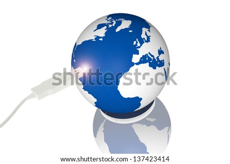 USB connection to the world - stock photo