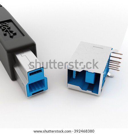 USB connector on white background - stock photo