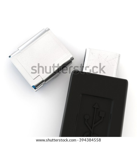 USB connector on white background