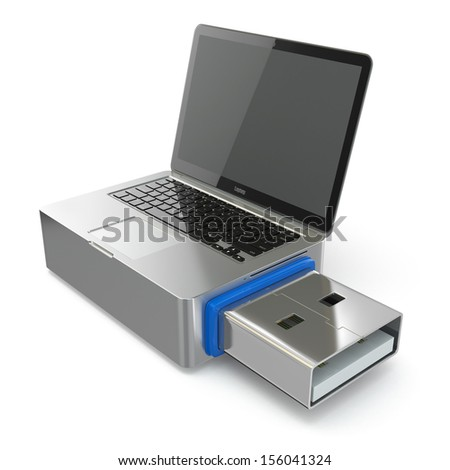 USB disk system recovery. Concept image. 3d - stock photo