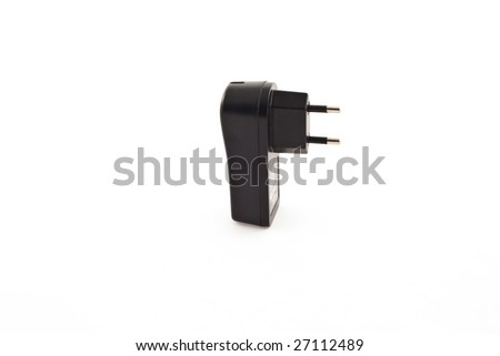 USB electric charger. black color on white background