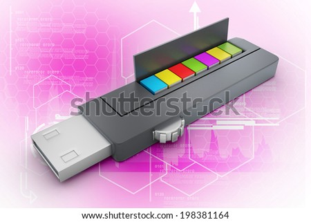 usb flash drive and books