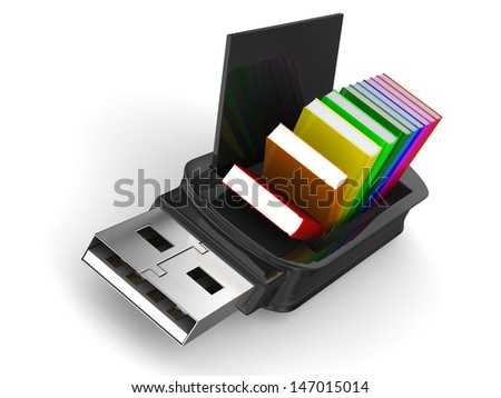 usb flash drive and books on white background. Isolated 3D image - stock photo