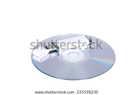 USB flash drive and cd or dvd  - stock photo