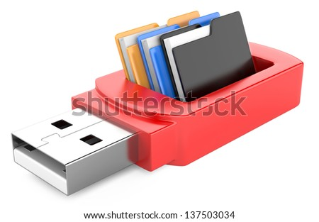 usb flash drive and folders isolated on white background. 3d image - stock photo