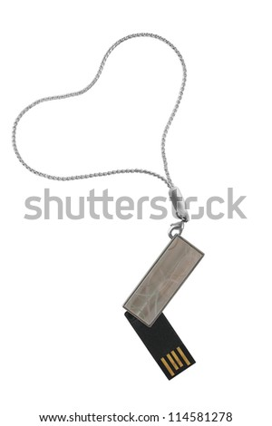 USB flash drive as a fashionable pendant on a chain on a white background