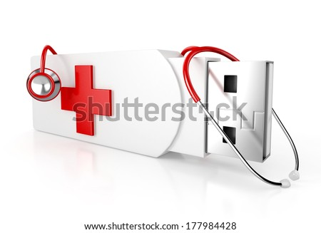 usb flash drive as first aid box with stethoscope, isolated on white background. 3d illustration - stock photo
