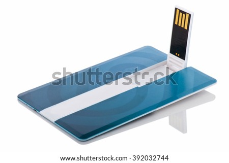 USB flash drive card. Portable flash drive card. Key card. Memory name card. Card storage. Flash drive isolated. Unplug memory. Name card memory. Personal name card. Save file card - stock photo