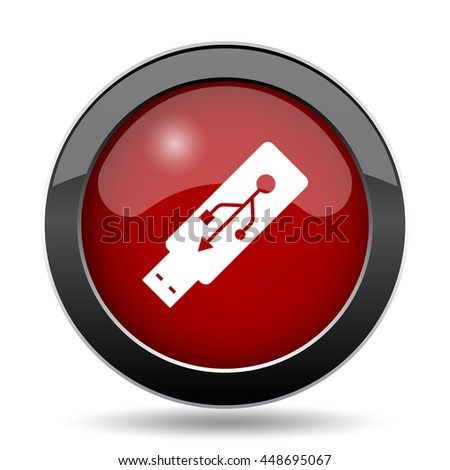 Usb flash drive icon. Internet button on white background.
