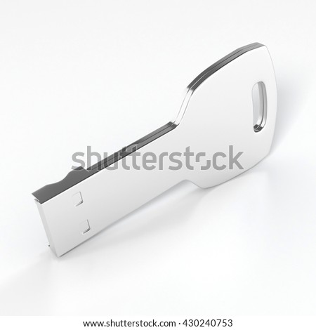 USB flash drive isolated on white background with shadow. 3D illustration