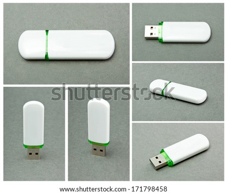 USB Flash Drive on gray background - stock photo