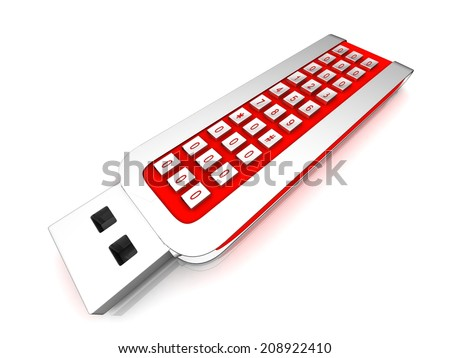 USB flash drive with a combination lock - stock photo