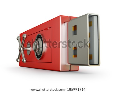 usb flash drive with a lock on the safe - stock photo