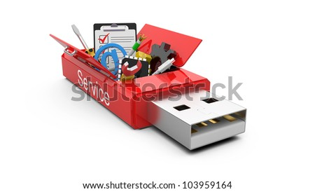 USB Flash drive with office tools and money. business concept - stock photo