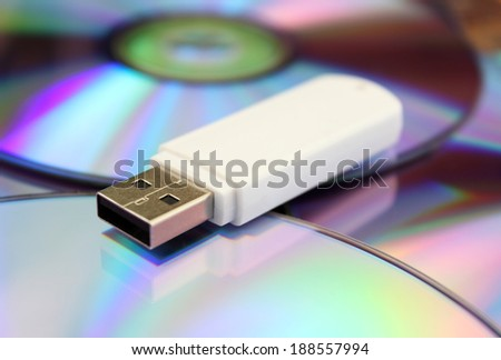 USB flash memory and CDs - stock photo