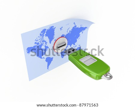 Usb flash memory and world's map.Isolated on white background.3d rendered.