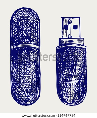 Usb flash memory. Doodle style. Raster version - stock photo