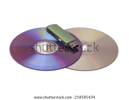 Usb flash memory on disks isolated on white backround  - stock photo