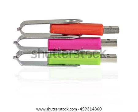 usb flash, storage drives, colors isolated - stock photo