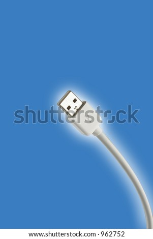 USB plug on a blue background - stock photo