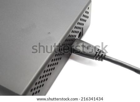USB port attach on external hard drive  - stock photo
