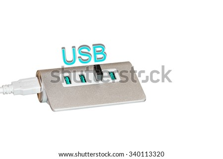 USB port with white background - stock photo