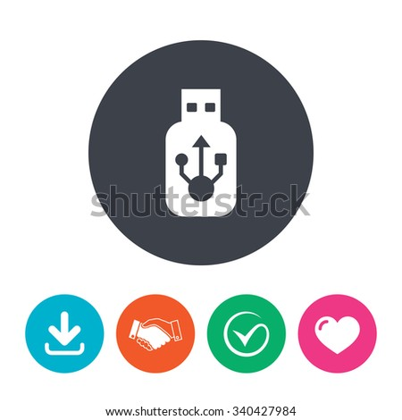 Usb sign icon. Usb flash drive stick symbol. Download arrow, handshake, tick and heart. Flat circle buttons. - stock photo