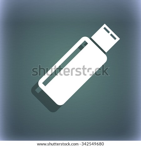 Usb sign icon. Usb flash drive stick symbol. On the blue-green abstract background with shadow and space for your text. illustration - stock photo