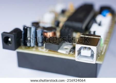 USB socket port with USB signage icon - stock photo