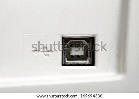 USB socket port with USB signage icon, macro - stock photo
