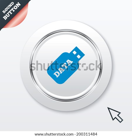 Usb Stick sign icon. Usb flash drive button. White button with metallic line. Modern UI website button with mouse cursor pointer.