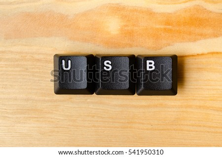 Usb word with keyboard buttons