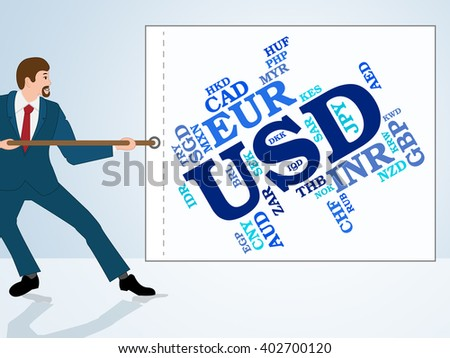 Usd Currency Representing United States Dollar And Exchange Rate