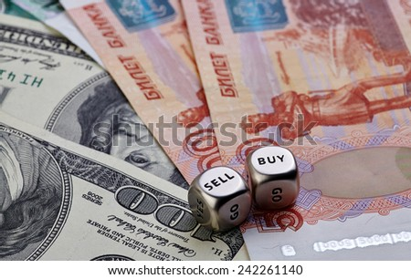 USD RUB banknotes, dices cubes. Selective focus - stock photo